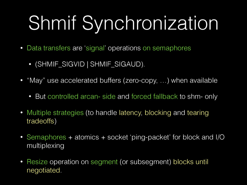 Shmif Synchronization • Data transfers are 'sig...