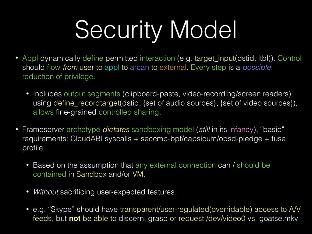 Security Model • Appl dynamically define permitt...