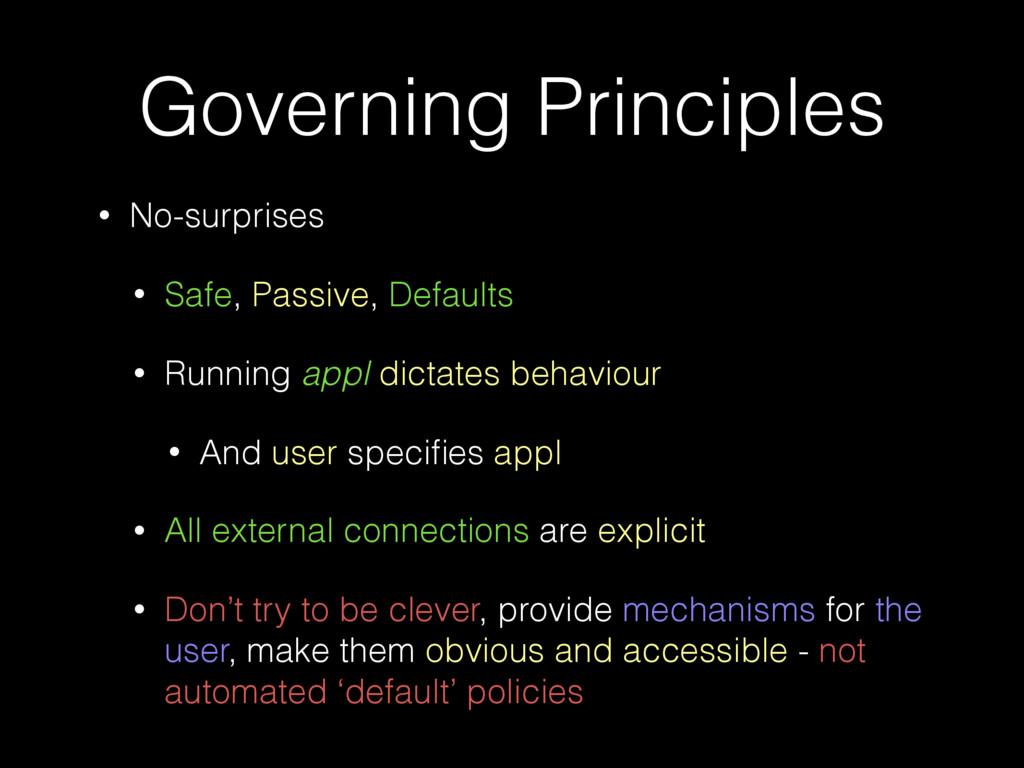 Governing Principles • No-surprises • Safe, Pas...
