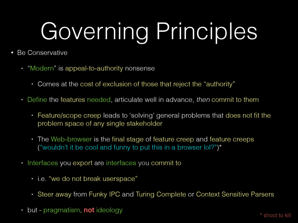 "Governing Principles • Be Conservative • ""Moder..."