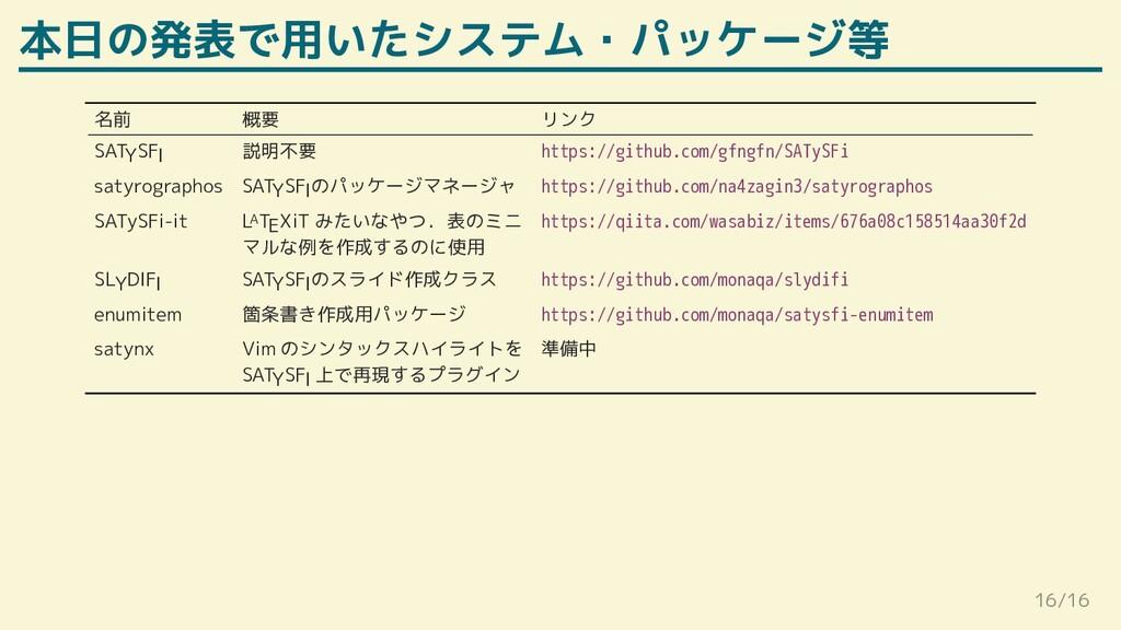 本日の発表で用いたシステム・パッケージ等 名前 概要 リンク SATYSFI 説明不要 htt...