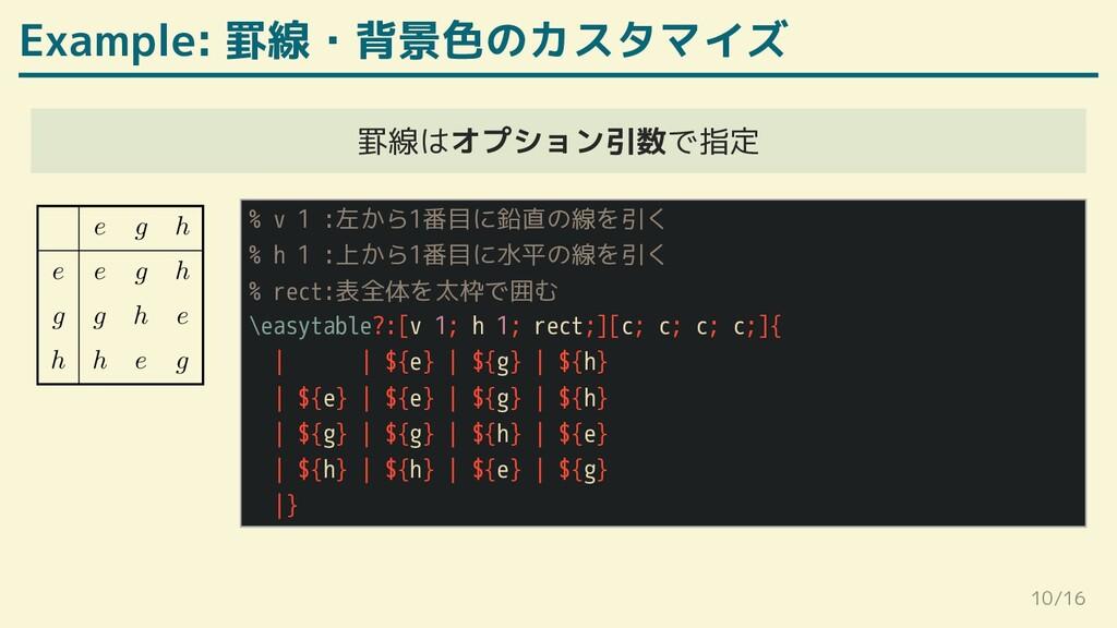 Example: 罫線・背景色のカスタマイズ 罫線はオプション引数で指定   ℎ    ℎ  ...