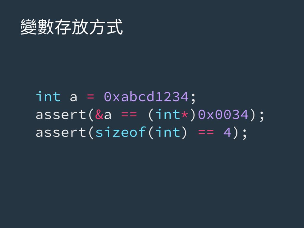 隶侸㶸佞倰䒭 int a = 0xabcd1234; assert(&a == (int*)0...