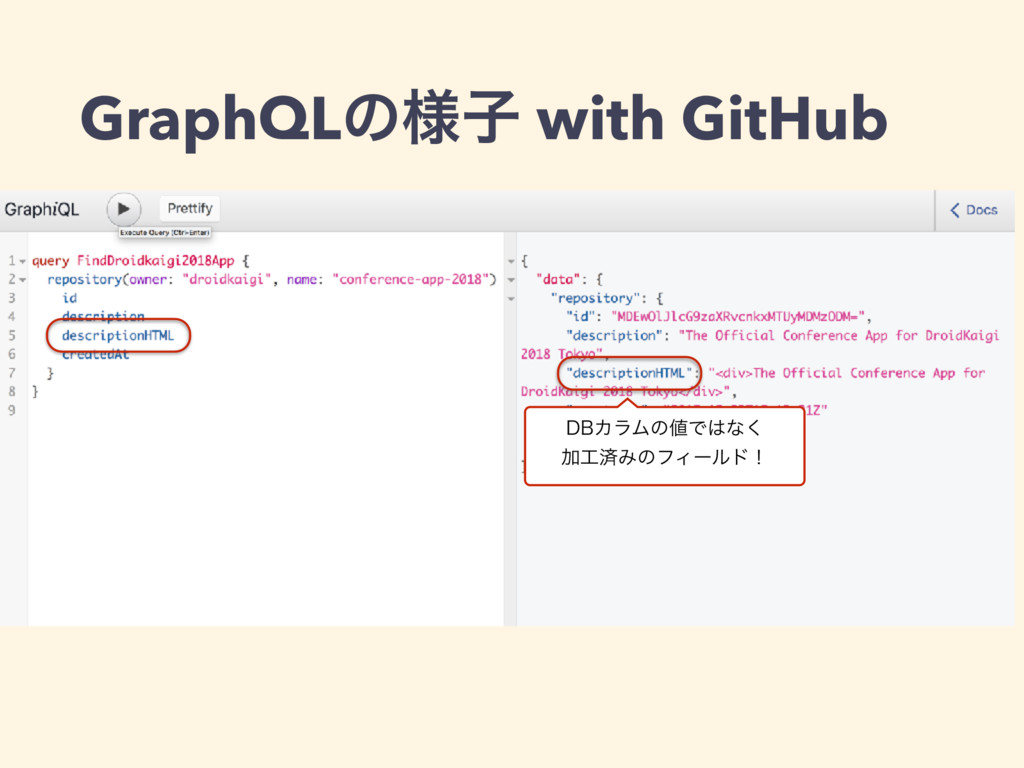 GraphQLͷ༷ࢠ with GitHub %#ΧϥϜͷͰͳ͘ ՃࡁΈͷϑΟʔϧυʂ