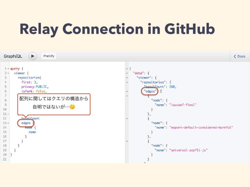 Relay Connection in GitHub ྻʹؔͯ͠ΫΤϦͷߏ͔Β ࣗ໌Ͱ...