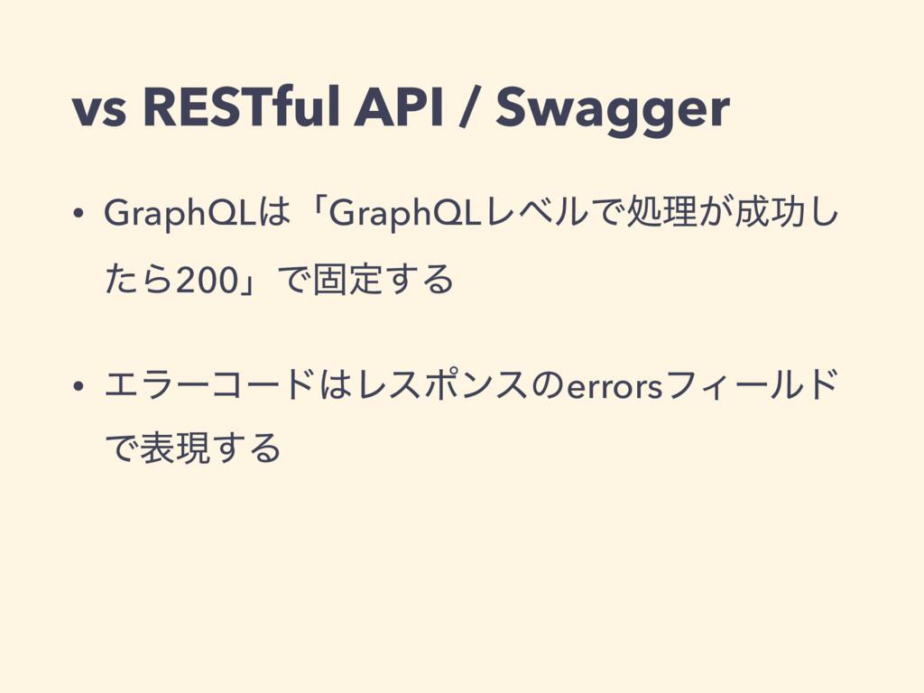 vs RESTful API / Swagger • GraphQLʮGraphQLϨϕϧͰ...
