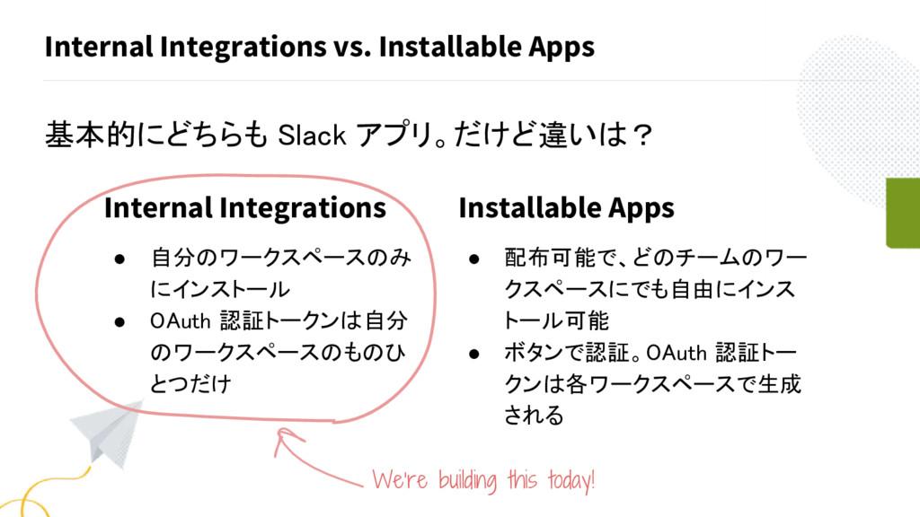Internal Integrations vs. Installable Apps 基本的に...