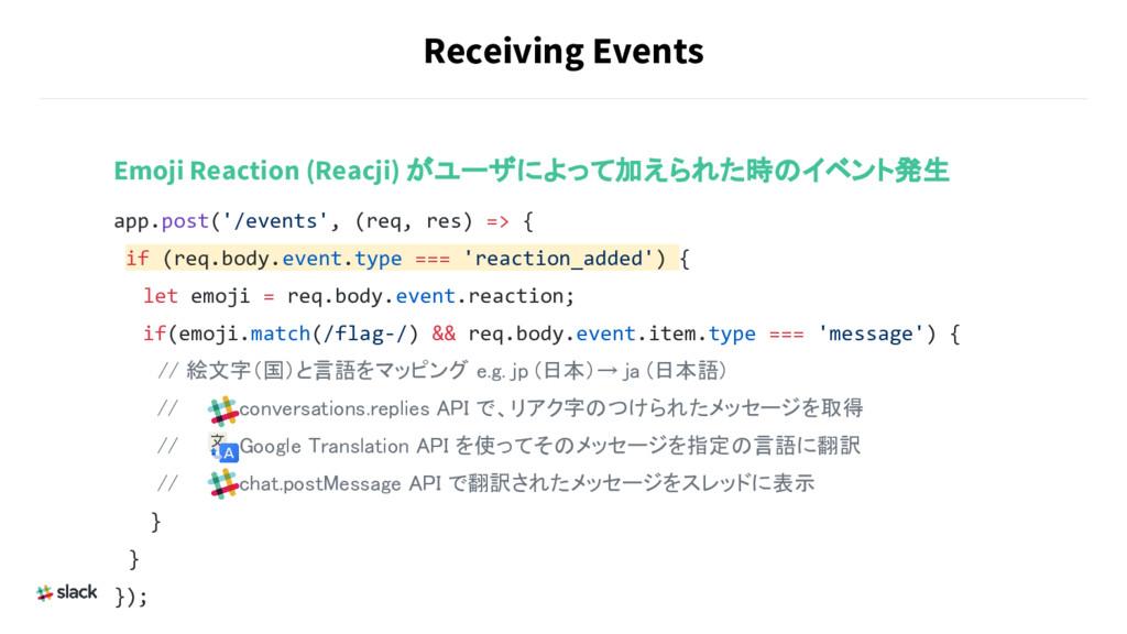 Receiving Events Emoji Reaction (Reacji) がユーザによ...