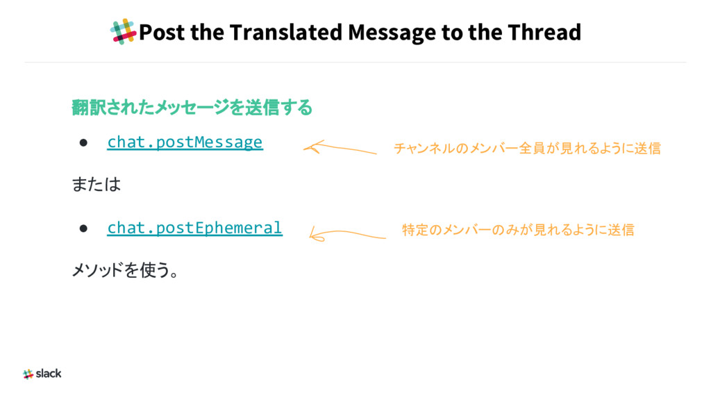 Post the Translated Message to the Thread 翻訳された...