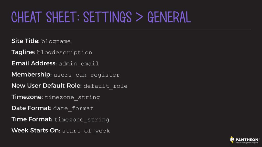 CHEAT SHEET: SETTINGS > GENERAL Site Title: blo...