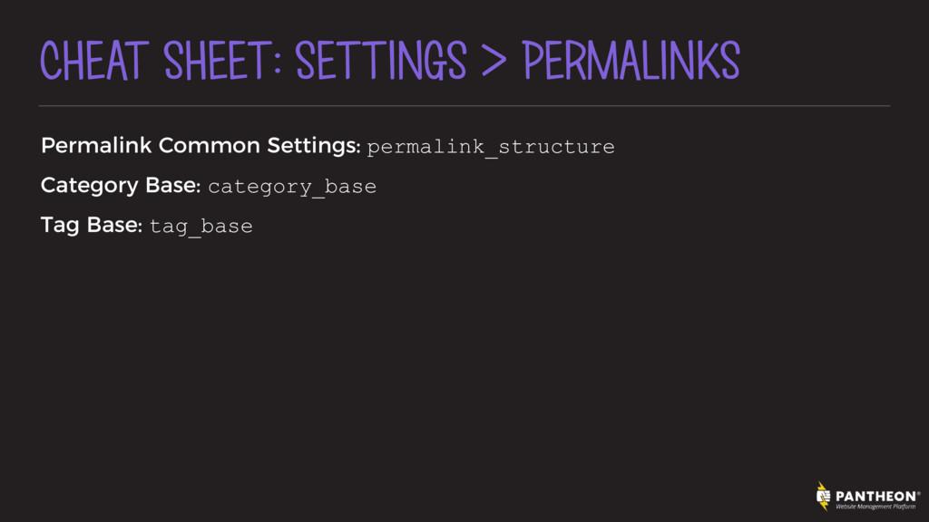 CHEAT SHEET: SETTINGS > PERMALINKS Permalink Co...