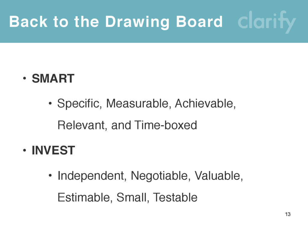 Back to the Drawing Board 13 • SMART • Specific...