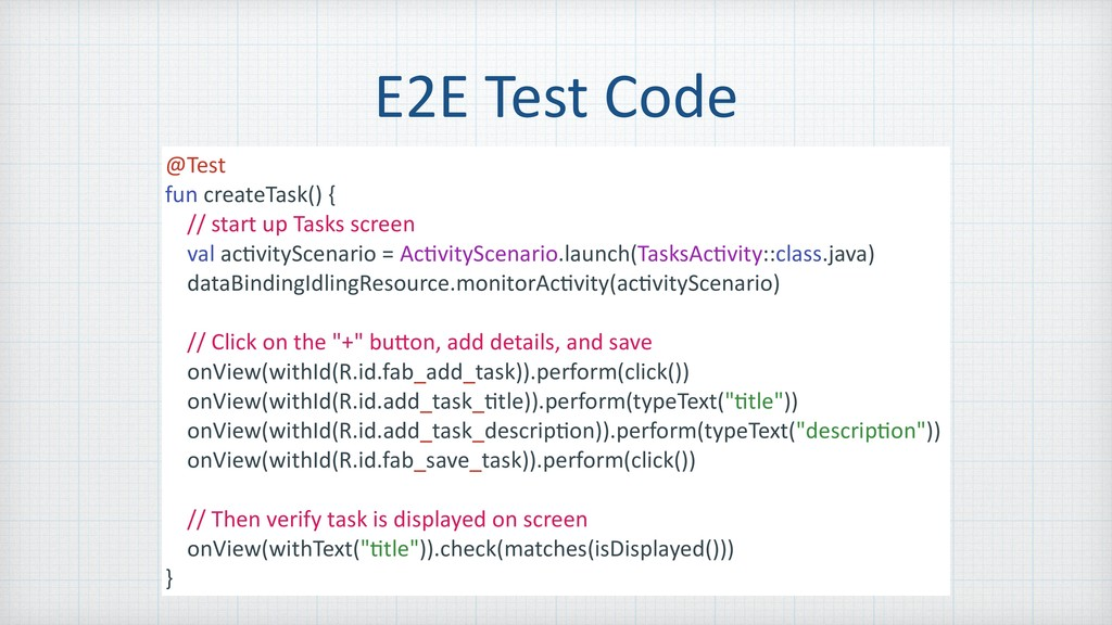E2E Test Code @Test fun createTask() { // start...