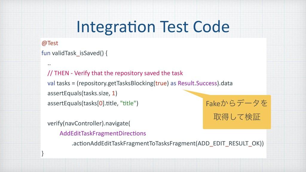 Integra=on Test Code @Test fun validTask_isSave...