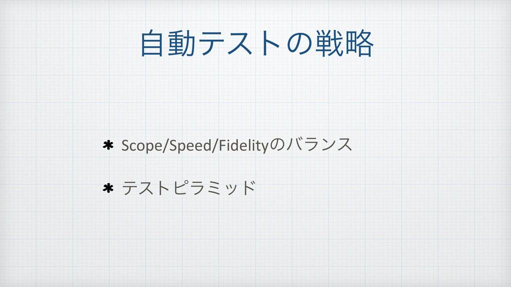 ࣗಈςετͷઓུ Scope/Speed/Fidelityͷόϥϯε ςετϐϥϛου