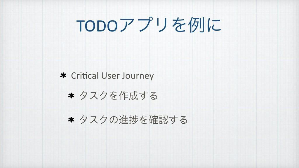 TODOΞϓϦΛྫʹ Cri=cal User Journey λεΫΛ࡞͢Δ λεΫͷਐḿ...
