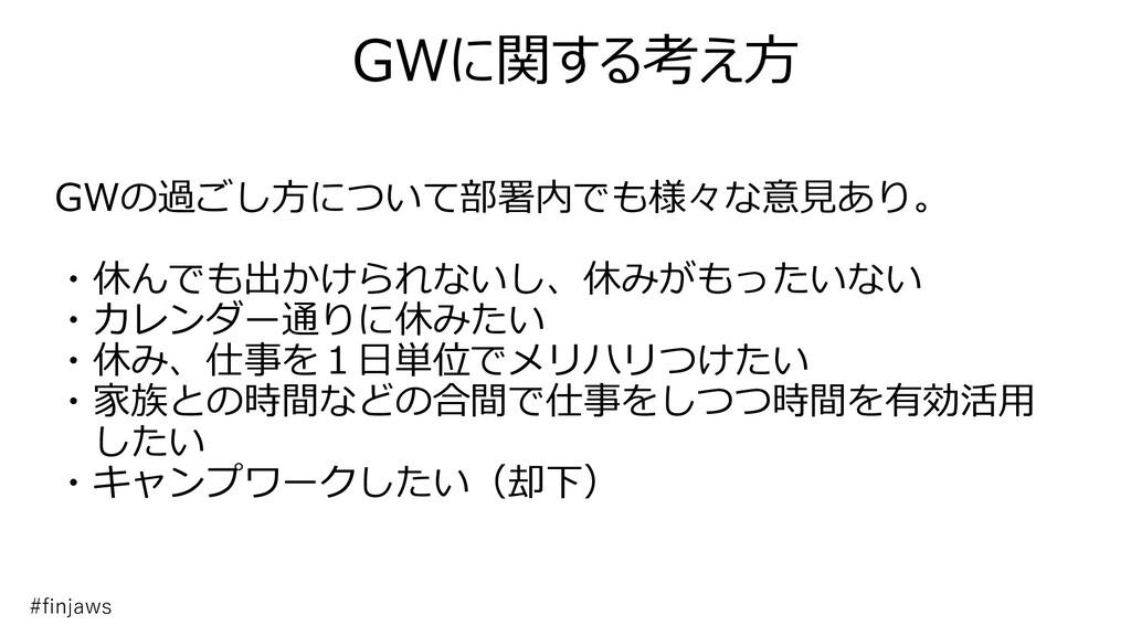 GWに関する考え方 GWの過ごし方について部署内でも様々な意見あり。 ・休んでも出かけられない...