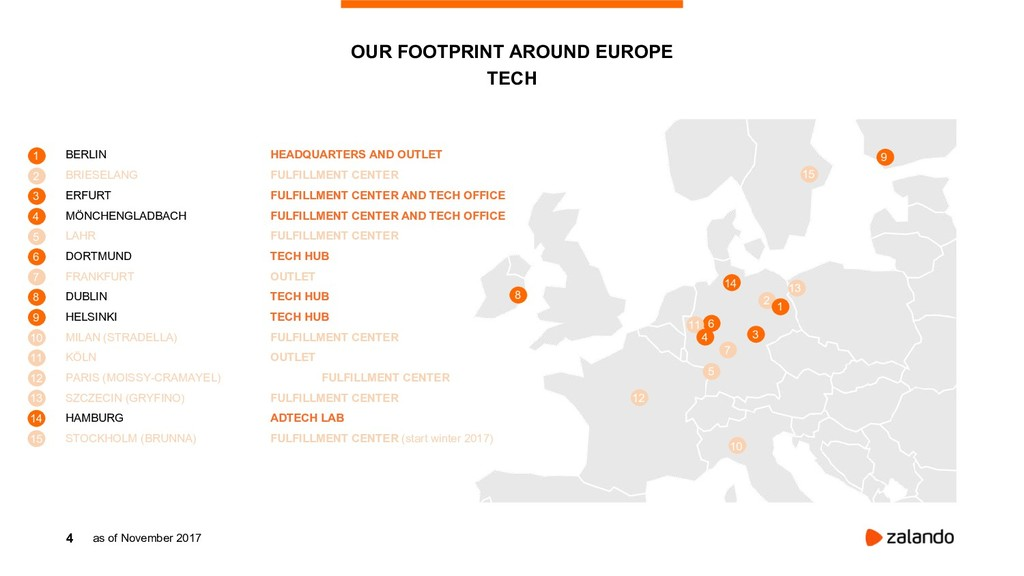 4 OUR FOOTPRINT AROUND EUROPE TECH as of Novemb...