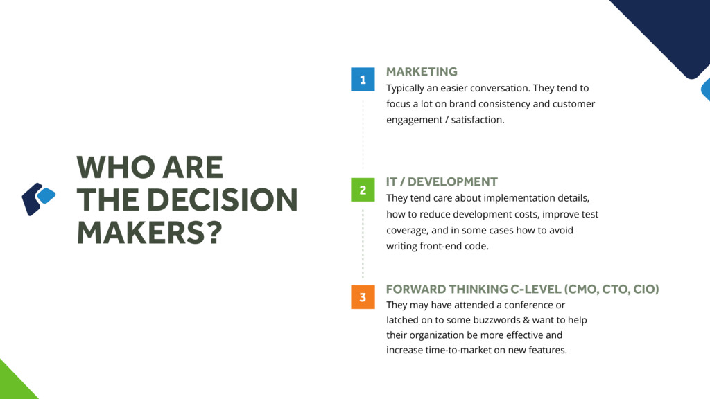 WHO ARE THE DECISION MAKERS? MARKETING Typicall...