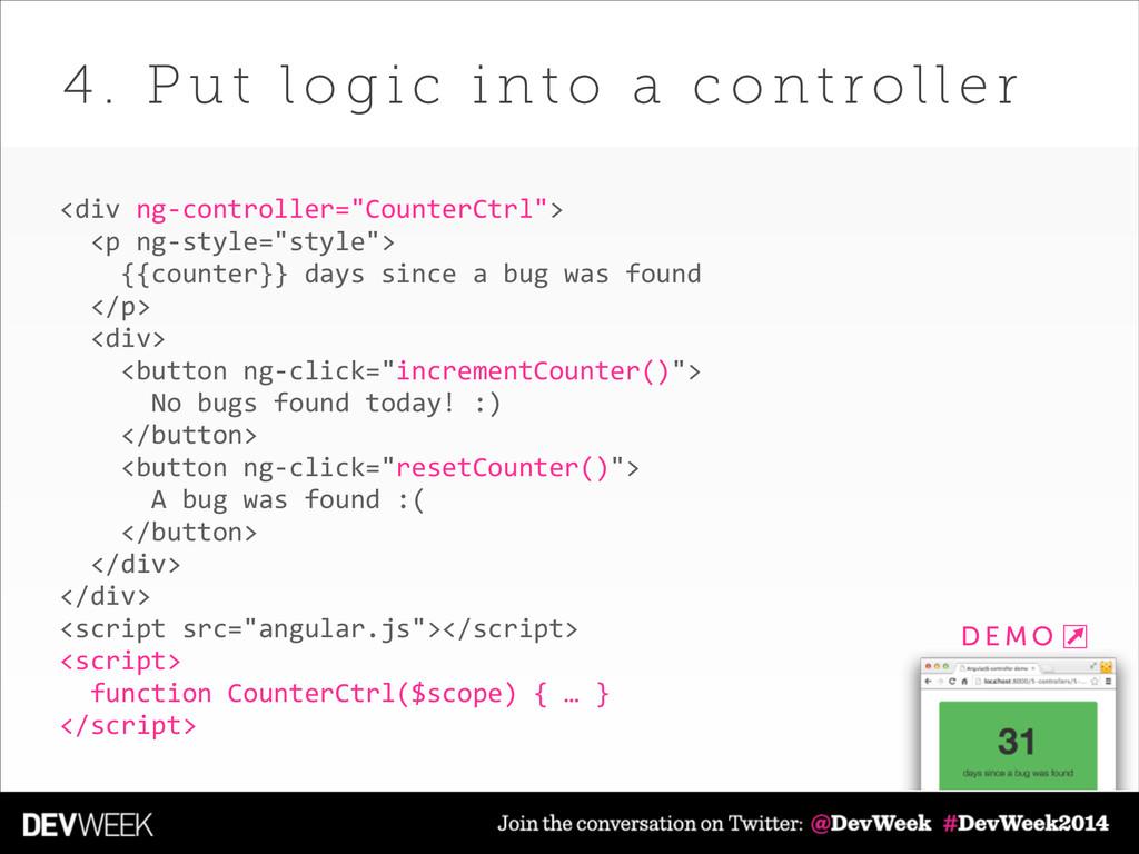 "<div ng-‐controller=""CounterCtrl"">    <p ..."
