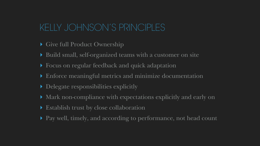 KELLY JOHNSON'S PRINCIPLES ▸ Give full Product ...