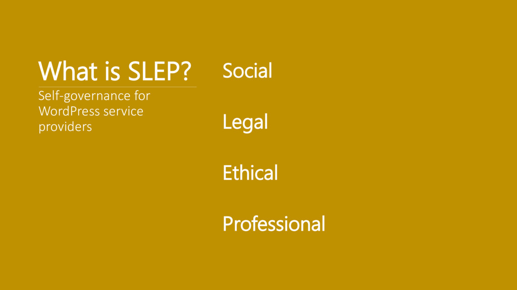 What is SLEP? Social Legal Ethical Professional...