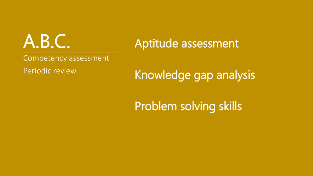 A.B.C. Aptitude assessment Knowledge gap analys...