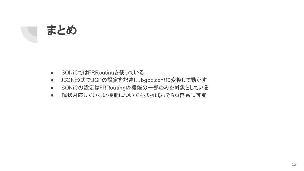 まとめ ● SONiCではFRRoutingを使っている ● JSON形式でBGPの設定を記述...