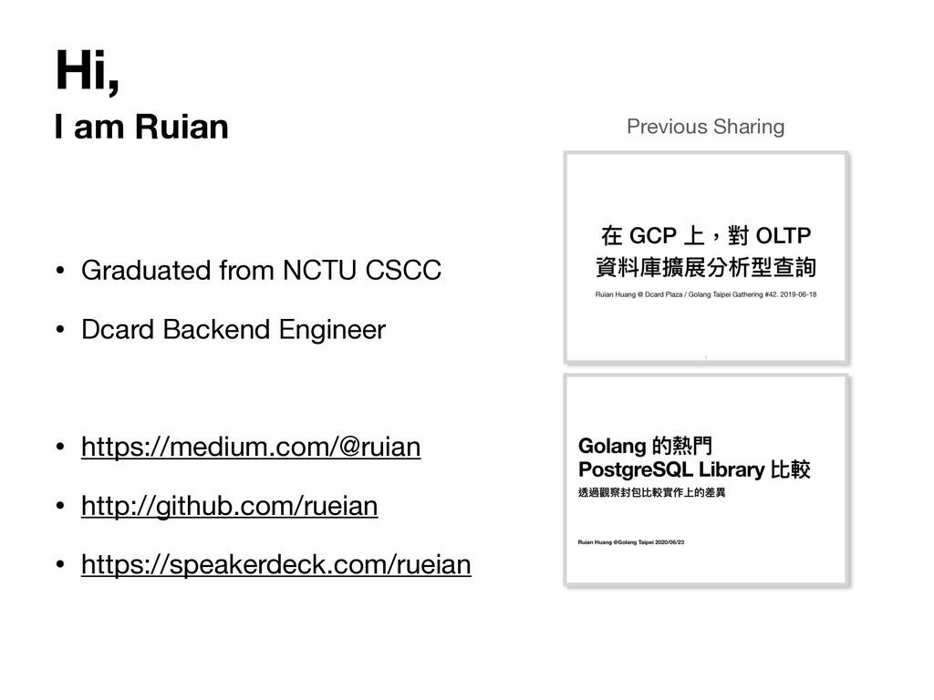 Hi, I am Ruian • Graduated from NCTU CSCC  • Dc...