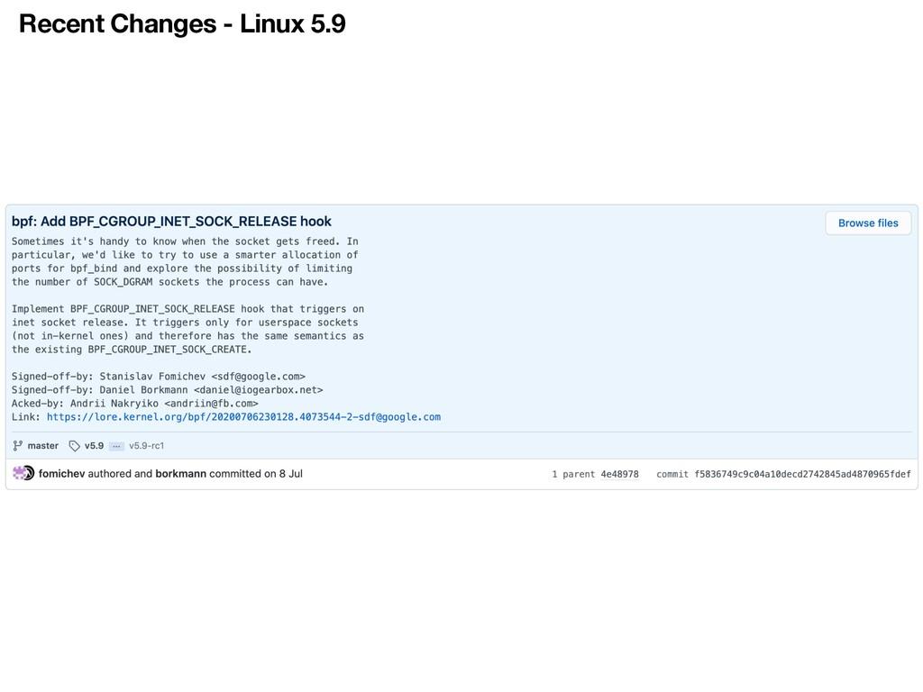 Recent Changes - Linux 5.9