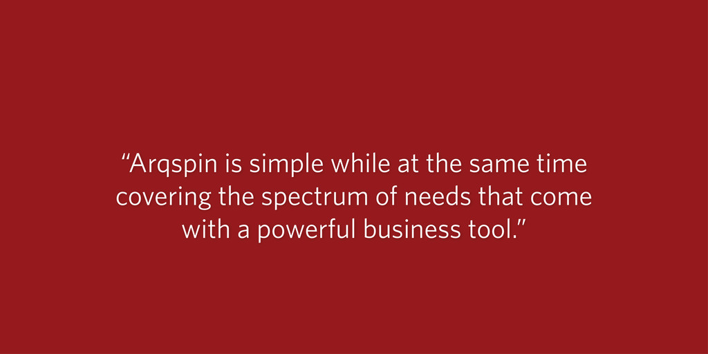 """""""Arqspin is simple while at the same time cover..."""