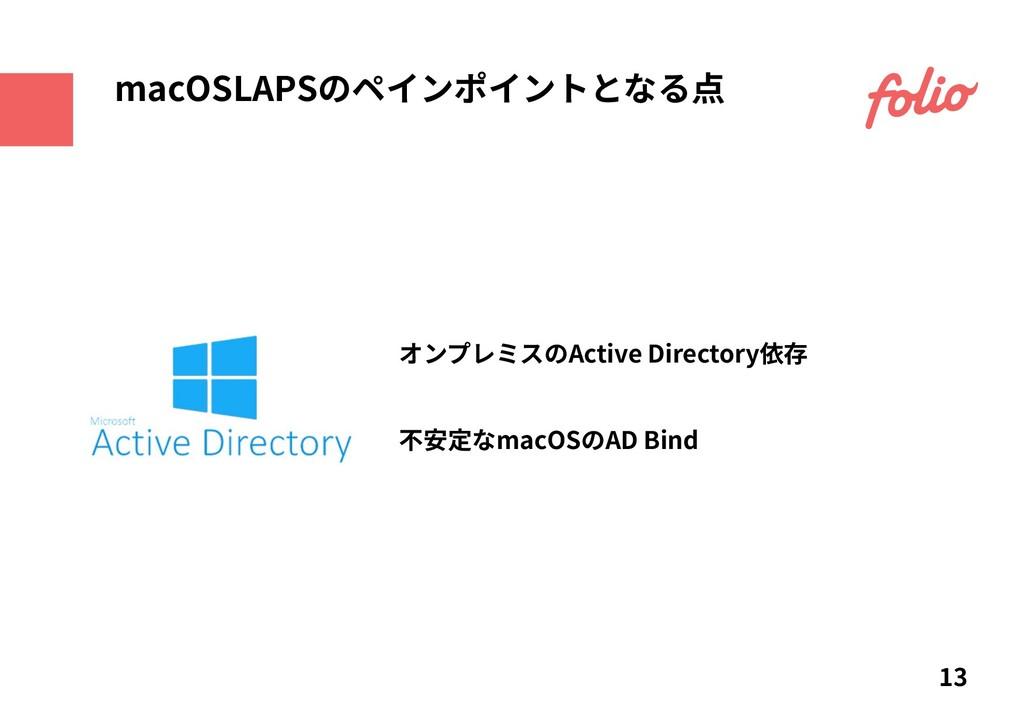 オンプレミスのActive Directory依存 13 macOSLAPSのペインポイントと...