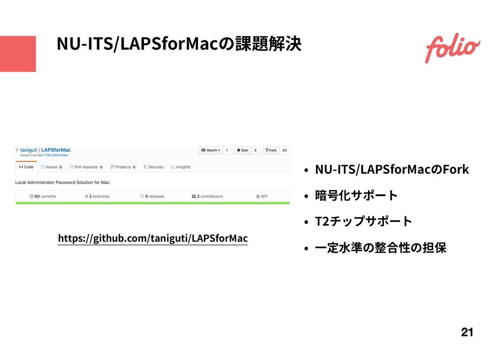 NU-ITS/LAPSforMacの課題解決 21 https://github.com/ta...