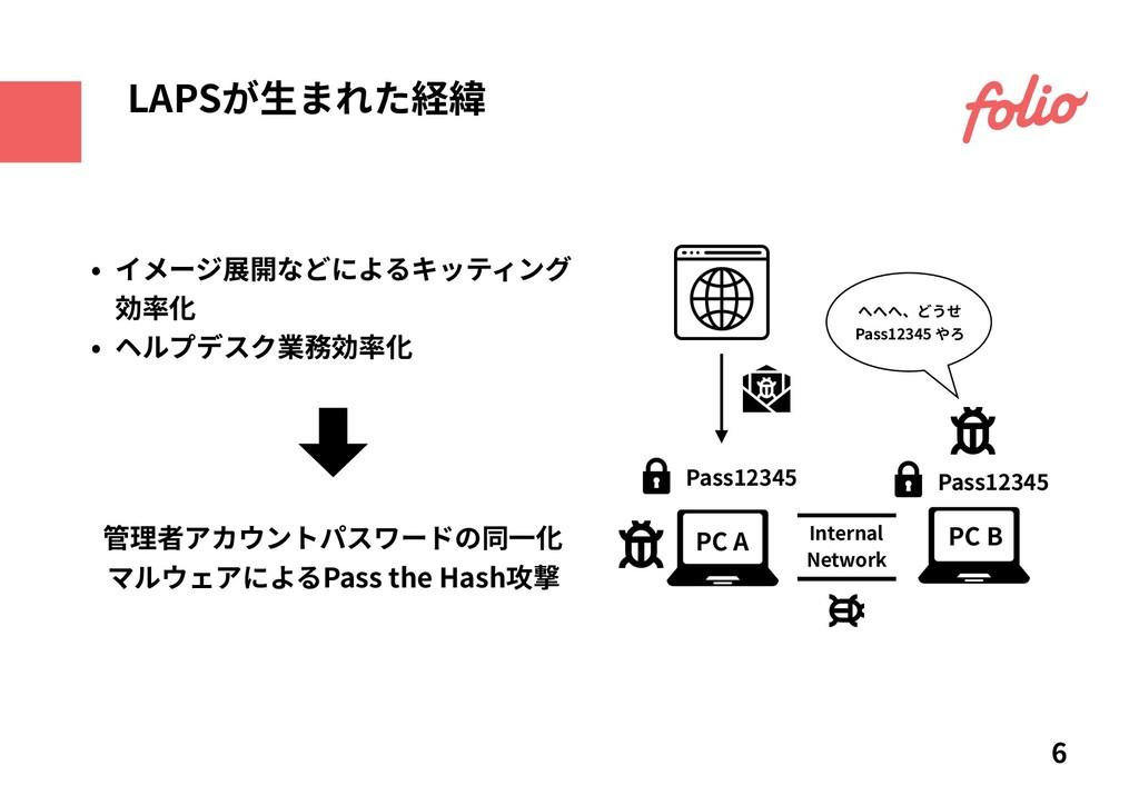 • イメージ展開などによるキッティング 効率化 • ヘルプデスク業務効率化 6 LAPSが⽣ま...