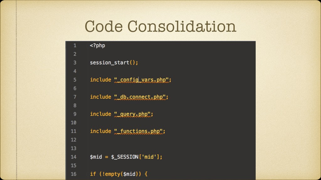 Code Consolidation