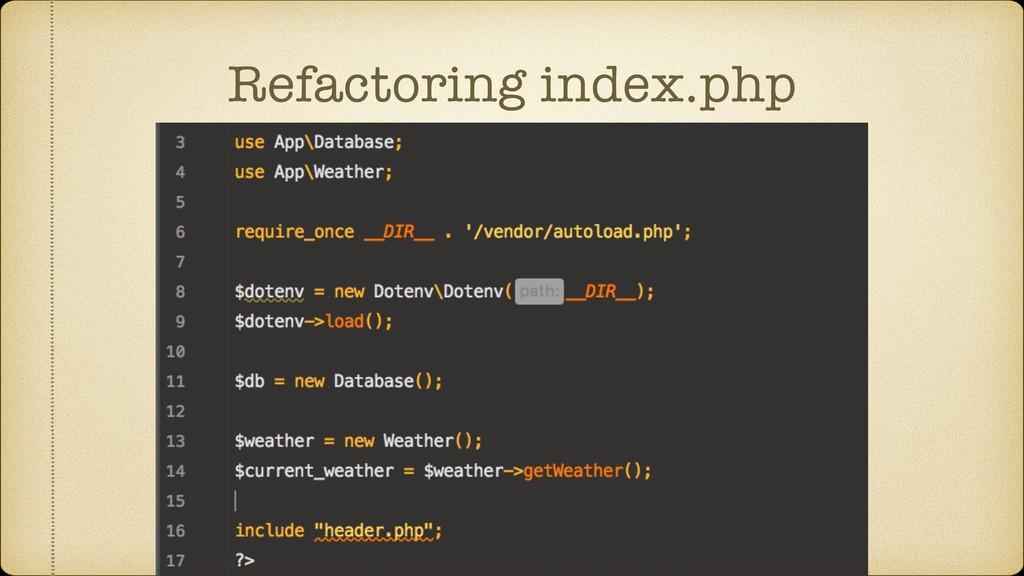 Refactoring index.php
