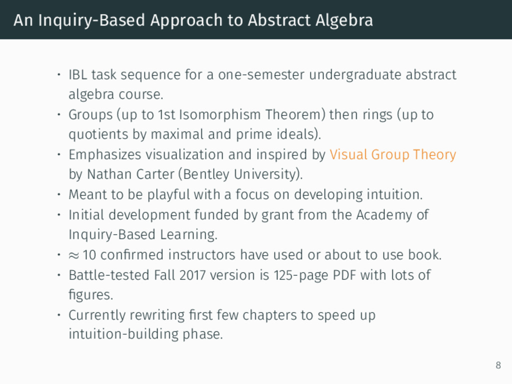An Inquiry-Based Approach to Abstract Algebra •...