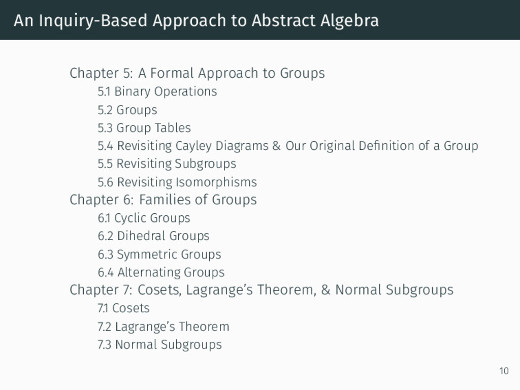 An Inquiry-Based Approach to Abstract Algebra C...