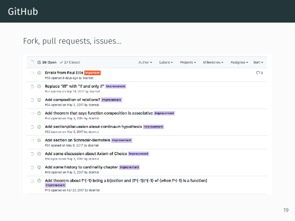 GitHub Fork, pull requests, issues… 19