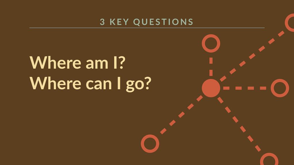 Where am I?  Where can I go?  3   K E Y...
