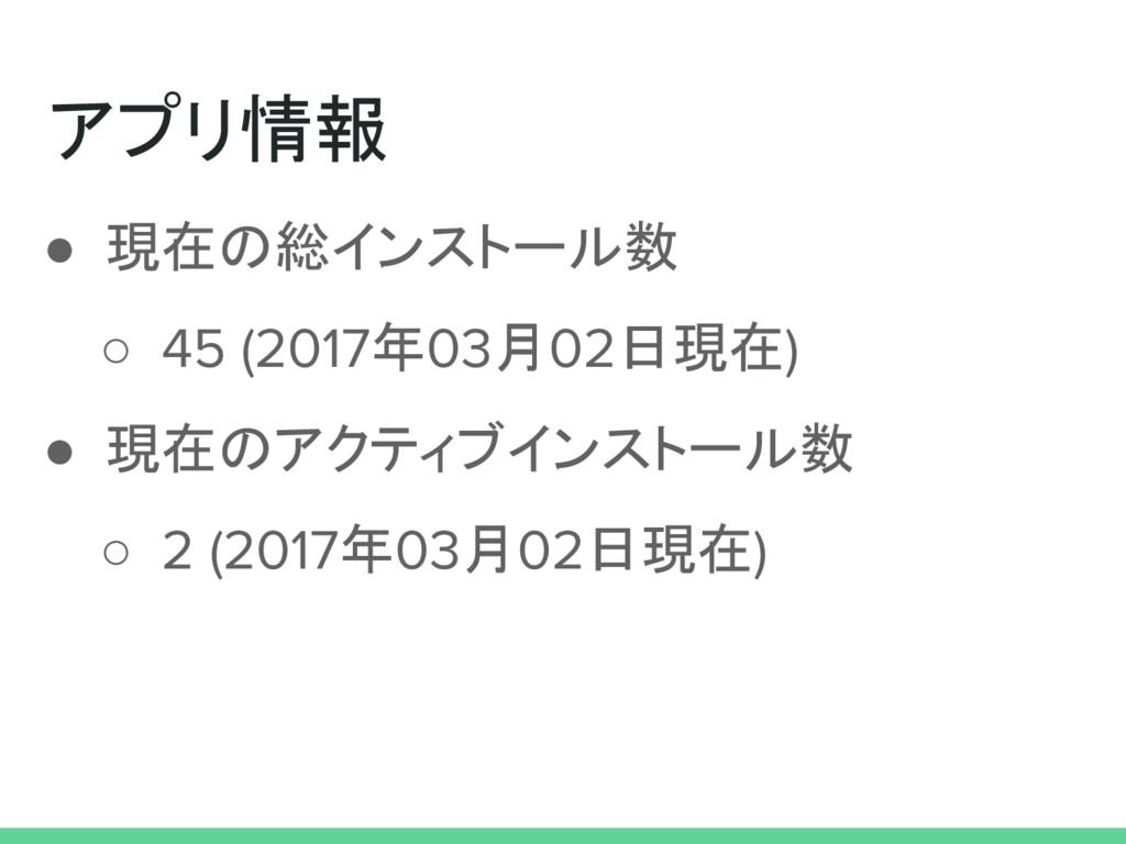 アプリ情報 ● 現在の総インストール数 ○ 45 (2017年03月02日現在) ● 現在のア...