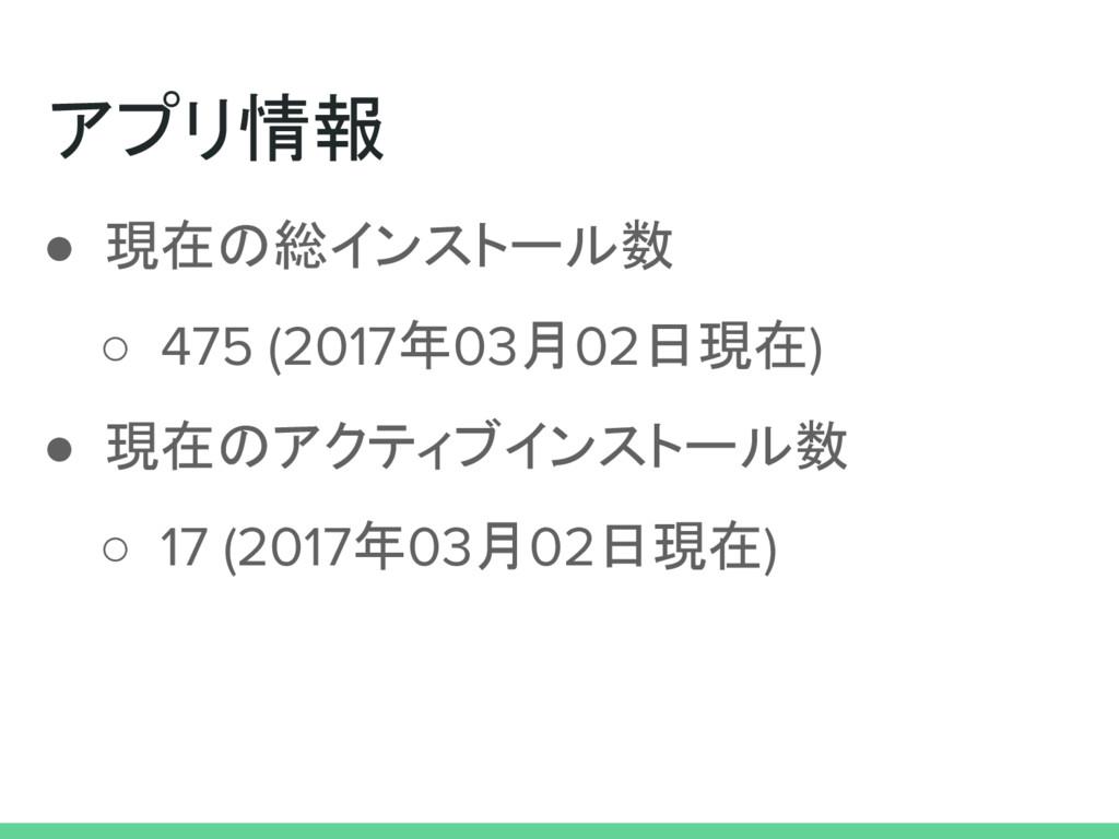 アプリ情報 ● 現在の総インストール数 ○ 475 (2017年03月02日現在) ● 現在の...