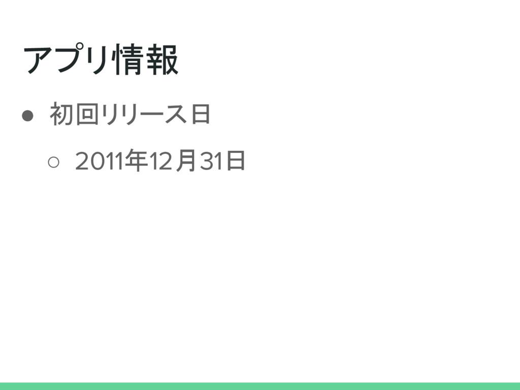 アプリ情報 ● 初回リリース日 ○ 2011年12月31日