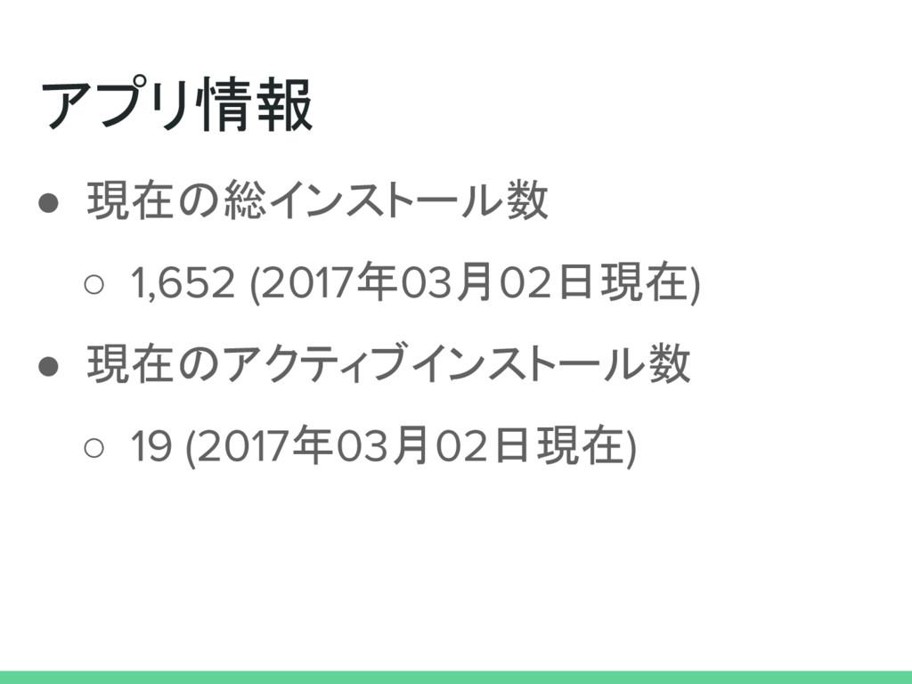 アプリ情報 ● 現在の総インストール数 ○ 1,652 (2017年03月02日現在) ● 現...