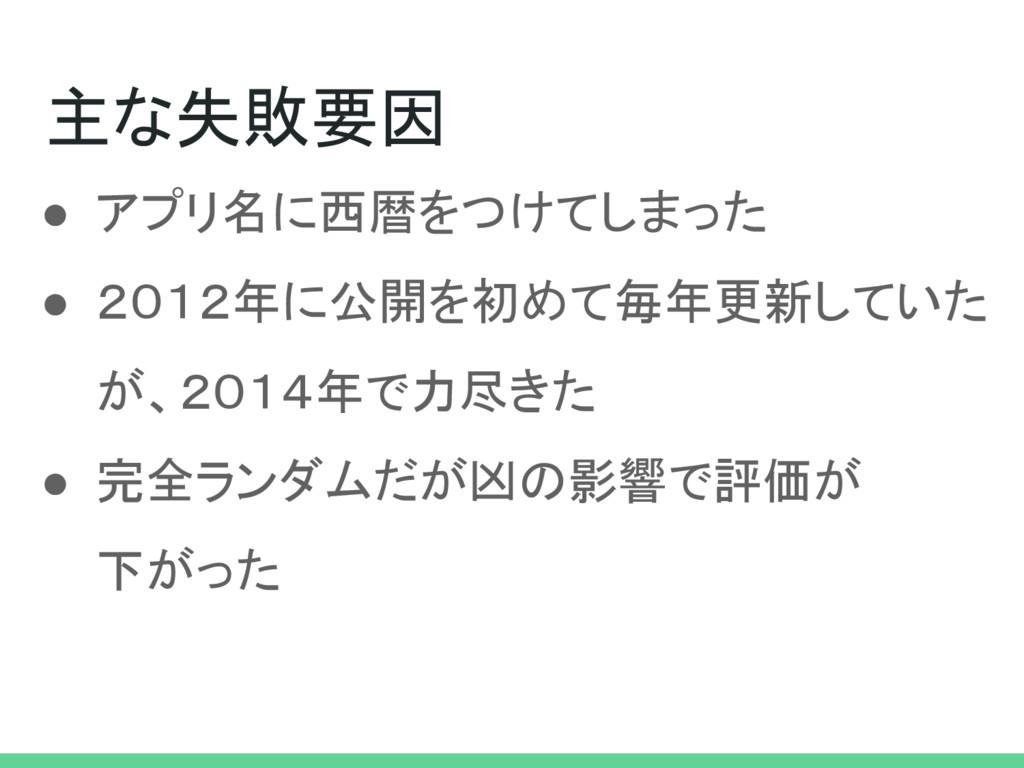 主な失敗要因 ● アプリ名に西暦をつけてしまった ● 2012年に公開を初めて毎年更新していた...
