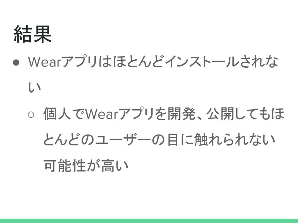 結果 ● Wearアプリはほとんどインストールされな い ○ 個人でWearアプリを開発、公開...