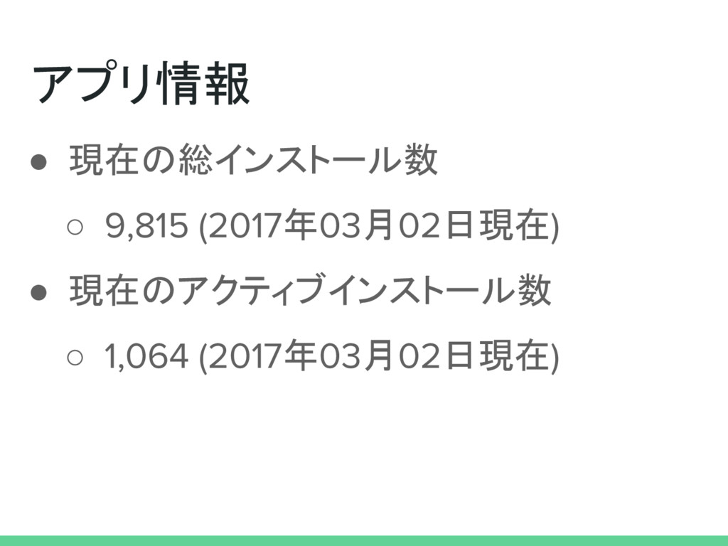 アプリ情報 ● 現在の総インストール数 ○ 9,815 (2017年03月02日現在) ● 現...