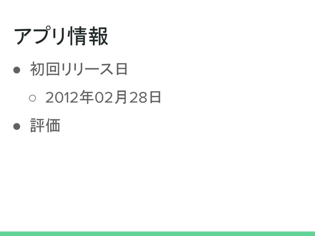 アプリ情報 ● 初回リリース日 ○ 2012年02月28日 ● 評価
