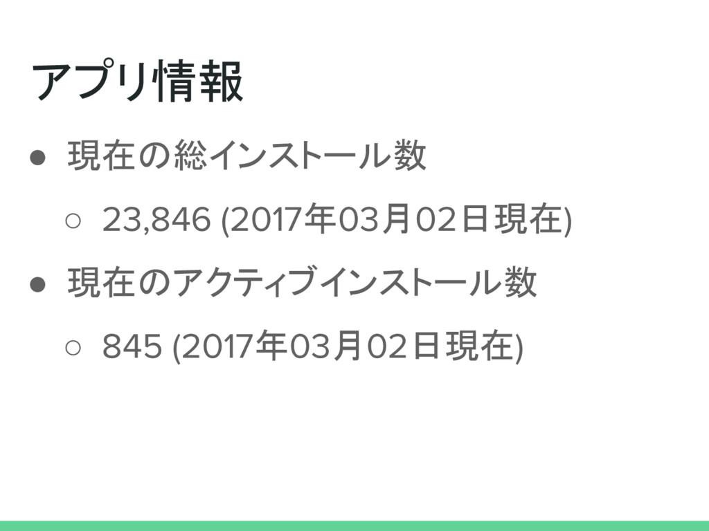 アプリ情報 ● 現在の総インストール数 ○ 23,846 (2017年03月02日現在) ● ...