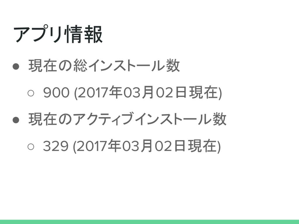 アプリ情報 ● 現在の総インストール数 ○ 900 (2017年03月02日現在) ● 現在の...